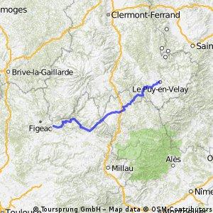 Jakobsweg Etappe 7 - Via Podensis : Le Puy - Decazeville