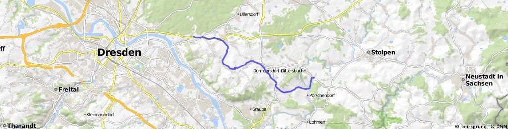 Profil Dürröhrsdorf auf alte Bahndamm nach DD Bühlau