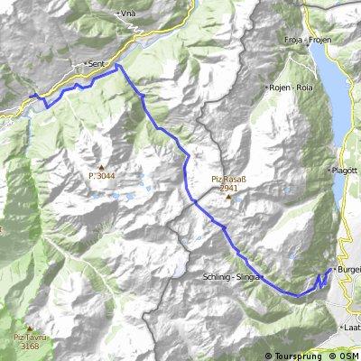 Scuol via Val d'Uina to Burgeis