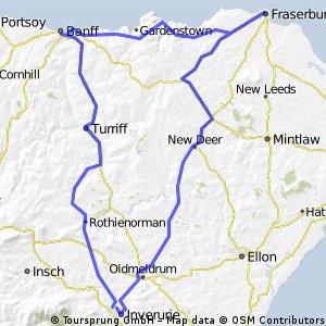 Inverurie to Bamff to Fraserbugh to home