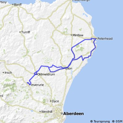 Inverurie  to Peterhead and back