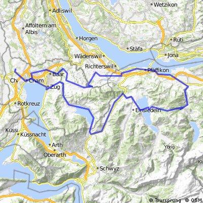 Sattelegg (1189m): Cham - Menzingen - Siebnen - Sattelegg - Biberburg - Ägeri - Zug - Cham (115.0Km, 1460hm)