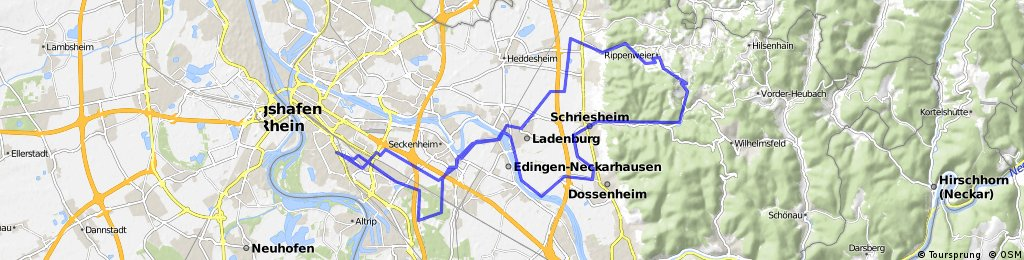 Route Nach Mannheim