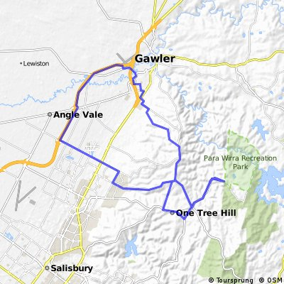 Gawler Wheelers-ROUTE80C-Gawler-SOB-Craigmore-Uley-Humbug-One Tree Hill-Uleybury-Gawler-INTERMEDIATE HILLS
