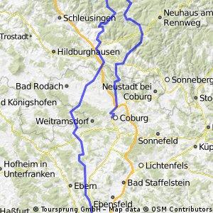 Coburg Bamberg über Thüringerwald