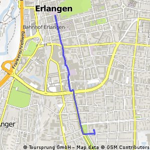 Cycling routes and bike maps in and around Erlangen Bikemap Your