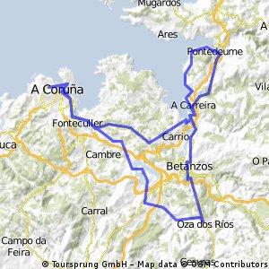 Coruña- Cecebre- Oza dos Rios- Betanzos- Miño- Pontedeume- Coruña