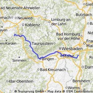 Von der Mosel, entlang Rhein,Main nach Walldorf/Hessen