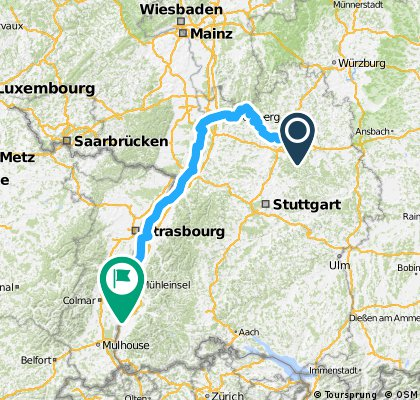 300 km Strecke Friedrichsruhe -  Sasbach am Kaiserstuhl