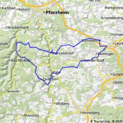 Rutesheim - Bad Liebenzell - Höfen (Enz) - Bad Reinach - Calw - Weil - Rutesheim