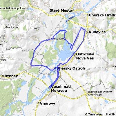 VM-Uherský Ostroh.Kunovice-Kostelany-Nedakonice-Moravský Písek-Uherský Ostroh- Vm