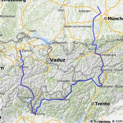 Zurich to Como to Ritten to Munich
