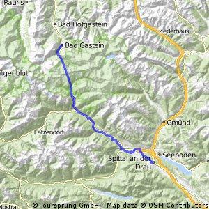 Ciclovia Alpe-Adria 3.cycle section: Bad Gastein / Mallnitz-Spittal. d. Drau