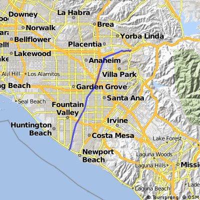 Cycling routes and bike maps in and around Yorba Linda Bikemap
