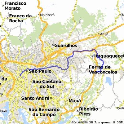 Rota experimental de Suzano até São Paulo