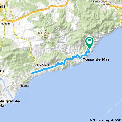 Lloret De Mar Spain Map.Cycling Routes And Bike Maps In And Around Catalonia Bikemap