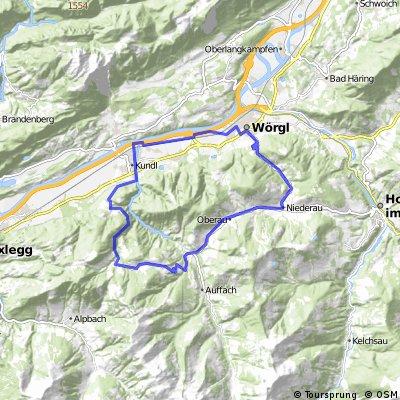 Wörgl - Kundl - Sauluag  Thierbach - Mühltal - Oberau - Niederau - Wörgl