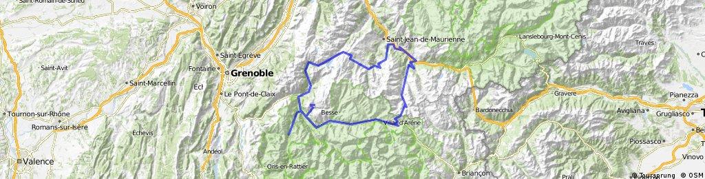 L\'Alpe d\'Huez und Col du Galibier   Bikemap - Deine Radrouten