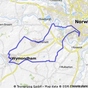 Norwich, Intwood, East Carleton, Wymondham, High Green, Hethersett, High Green, Colney, UEA, Norwich