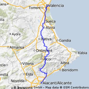 ValenciaAlicante Bikemap Your bike routes