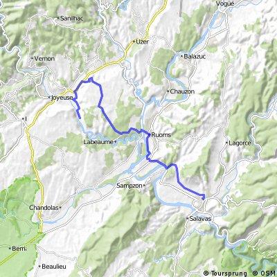 Arleblanc-Chapias-Ruoms-Vallon 22 km 200Hm