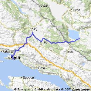 Prijedlog rute Split - Banja Luka (1.etapa)