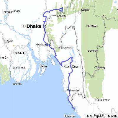 Bangladesh 750km