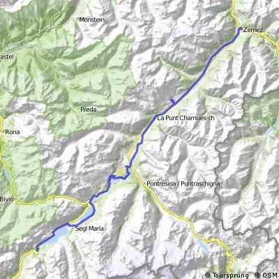 Z Malojapass přes St.Moritz do Zernez