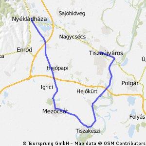 Tiszaújváros - Tiszakeszi - Mezőcsát - Nyékládháza