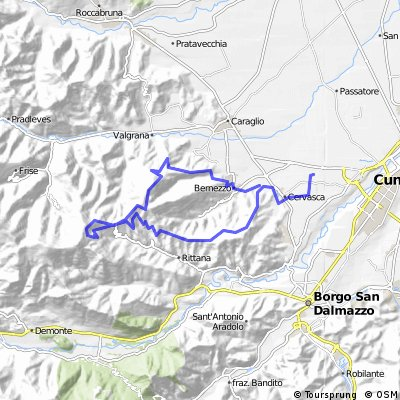 Cervasca - Aranzone - Chiot Rosa - Paralup - Chiot Rosa - Pitunera - Tetto Chiappello - Bernezzo - Cervasca
