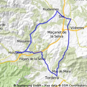 Hostalric - Tordera - NII - Sils - Mallorquines - Hostalric