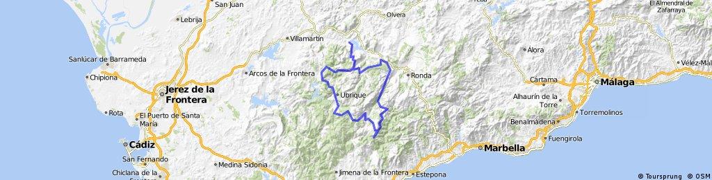 El Espino - Córtes - Ubrique - El Boyar - Zahara - Las Palomas - Grazalema - Montejaque - Jimera - El Espino