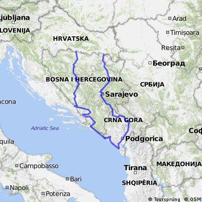 Cała trasa Bośnia - Czarnogóra