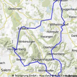 Riedhausen => Heiligenberg => Deggenhausertal => Höchsten (Zeitfahrstrecke) => Riedhausen