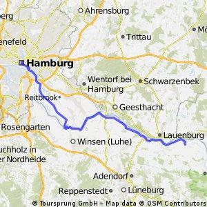 Elberadweg 2014 - 1. Etappe Hamburg nach Bleckede