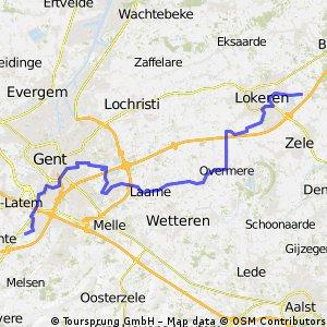 Zwijnaarde - Lokeren via bikemap