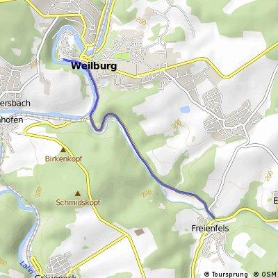 Radstrecke Weilburgman 2014 Anfahrt und Abfahrt