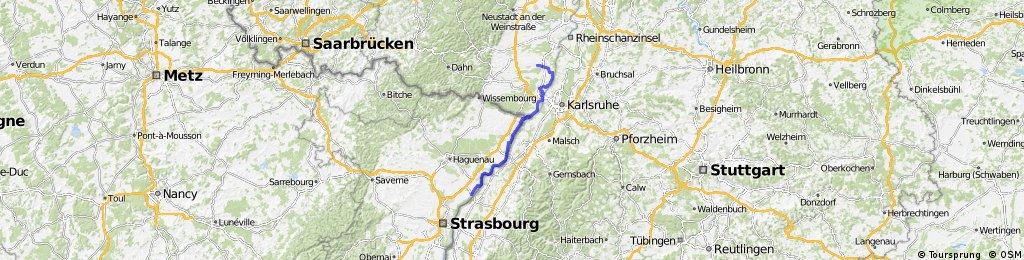 Den Rhein abwärts von Achern bis Rülzheim