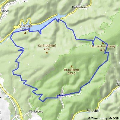 Harz Lonau-Sösetalsperre-Hanshühneburg-Lonau