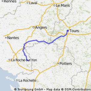 3 ème étape : La Châtaigneraie - Tours : 212,5 km