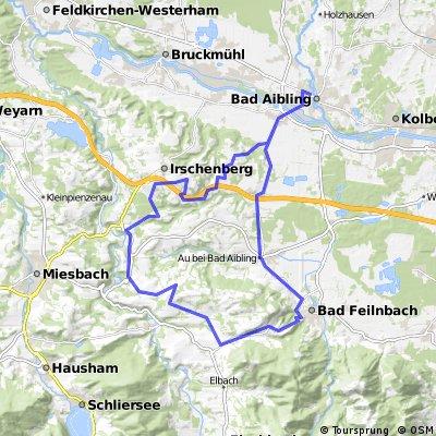 Feierabendrund Bad Aibling - Irschenberg - Hundham - Bad Aibling