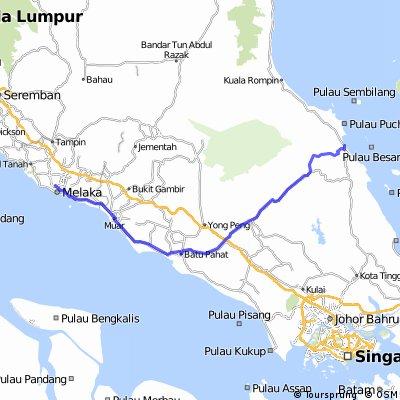 Melaka to Mersing