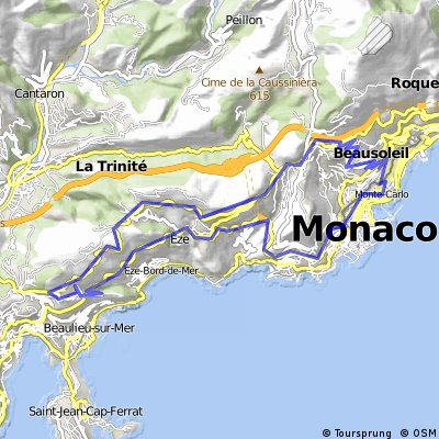 Monte Carlo Map Cycling routes and bike maps in and around Monte Carlo | Bikemap