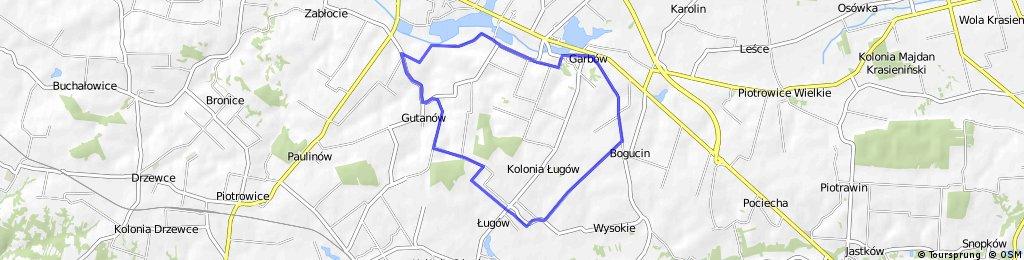 Gmina Garbów - trasa szlaku rowerowego (cz. południowa)