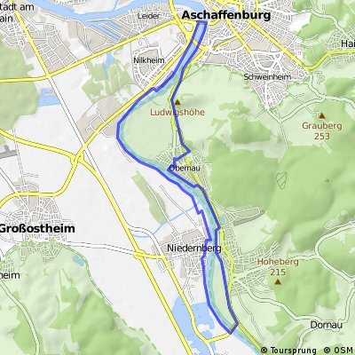 Nilkheimer Park-Nierdernberg-Sulzbach-Obernau-Aschaffenburg für Freizeitradler