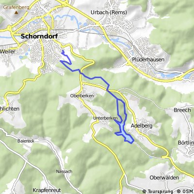 Schdf. - Alte Steige - Adelberg - See : Rundkurs