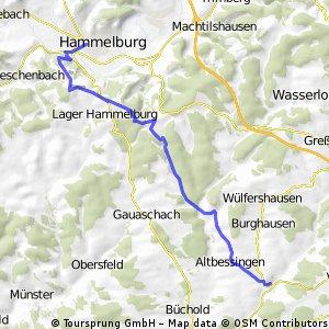 Über den Gauaschacher Wald nach Hammelburg