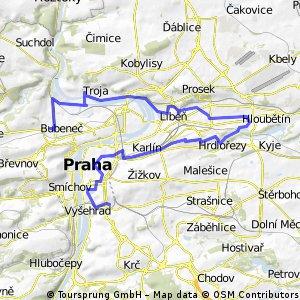 Prahou z práce okolo Rokytky a přes Vítkov 27 km