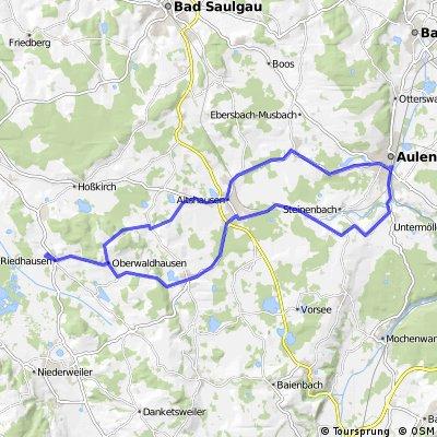 Riedhausen => Altshausen => Aulendorf => Ebersbach => Altshausen => Bauhof => Riedhausen
