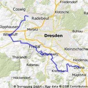 Radebeul - Dohna auf Wilsdruffer Eisenbahntrasse